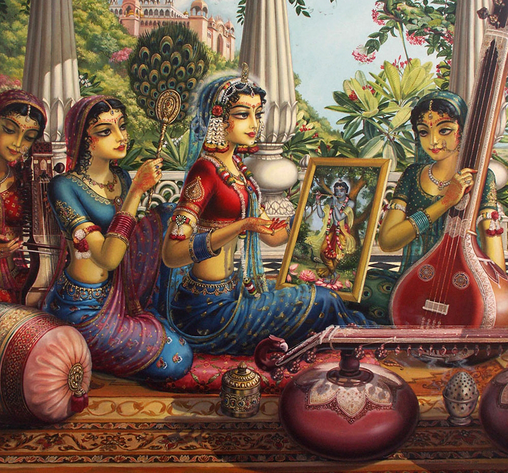 Gopis Serving radharani